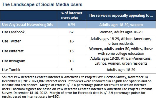 landscape of social media users