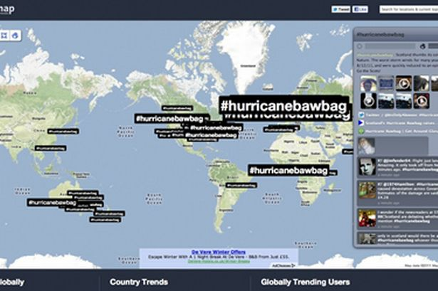 Daily Record #hurricanebawbag Trends Map